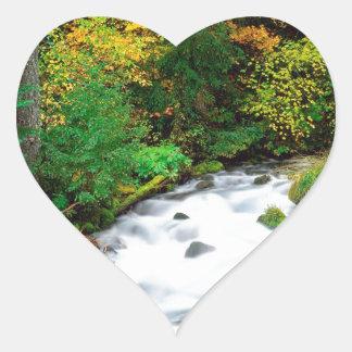 River Willamette Forest In Autumn Oregon Heart Sticker