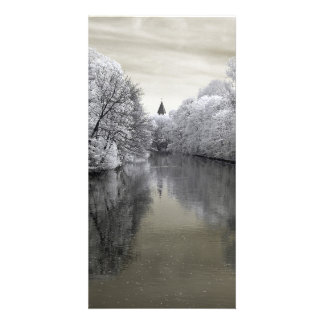 River with church/infrared photography card