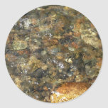 River-Worn Pebbles Brown and Grey Natural Abstract Classic Round Sticker