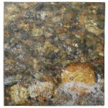 River-Worn Pebbles Brown and Grey Natural Abstract Cloth Napkin