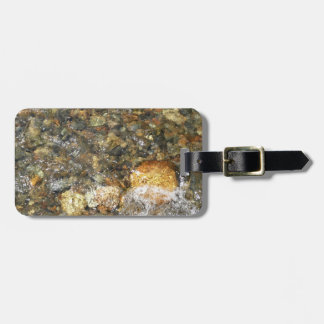 River-Worn Pebbles Brown and Grey Natural Abstract Luggage Tag