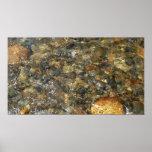 River-Worn Pebbles Brown and Grey Natural Abstract Poster
