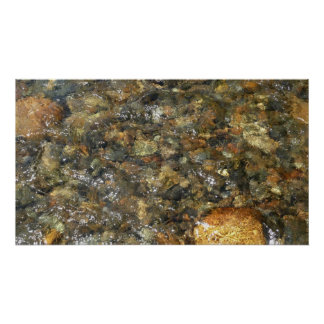 River-Worn Pebbles Brown and Grey Natural Abstract Poster