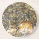 River-Worn Pebbles Brown and Grey Natural Abstract Sandstone Coaster
