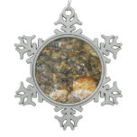 River-Worn Pebbles Brown and Grey Natural Abstract Snowflake Pewter Christmas Ornament