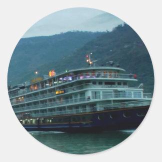 River YANGTZE - China  Vintage BOAT CRUISE Sticker