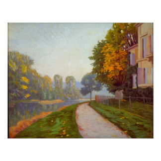 Riverbank by Gustave Caillebotte Poster