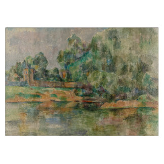 Riverbank by Paul Cezanne Glass Cutting Board