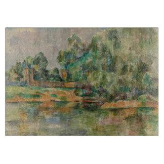 Riverbank by Paul Cezanne Glass Cutting Board