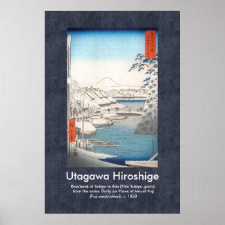 Riverbank de Hiroshige del poster de la voluta en