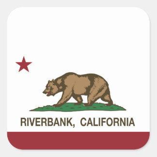 Riverbank de la bandera del estado de California Pegatina Cuadrada