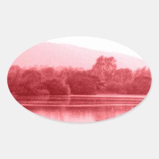Riverbank de la frambuesa pegatina ovalada