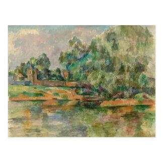 Riverbank por la postal de Paul Cezanne