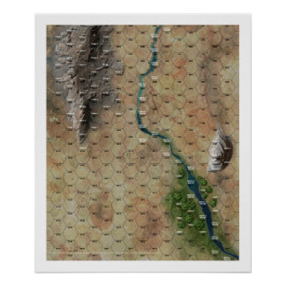 """Riverbend"" Hex Map Print"