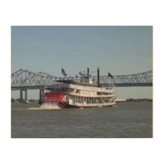 Riverboat in New Orleans on Wood Wood Canvas