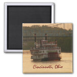 Riverboat on Ohio River 2 Inch Square Magnet