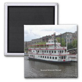 Riverboat Savannah Georgia 2 Inch Square Magnet