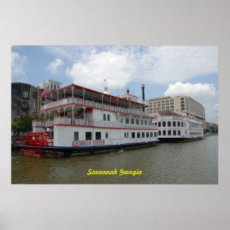 Riverboats Savannah Georgia Poster
