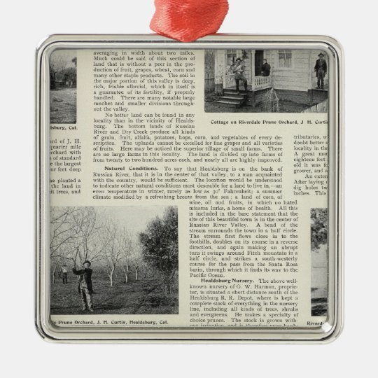 Riverdale Prune Orchard, California Metal Ornament