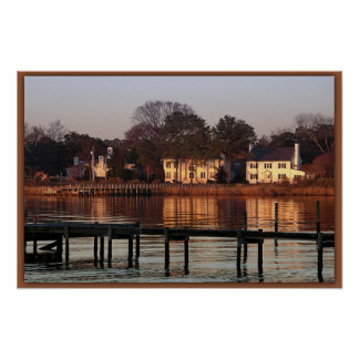 Riverfront Houses at Sunset Poster