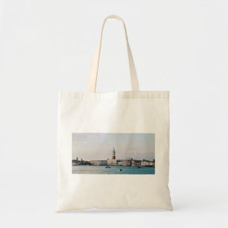 Riverfront Themed, Boats On Blue Water In Front Of Budget Tote Bag