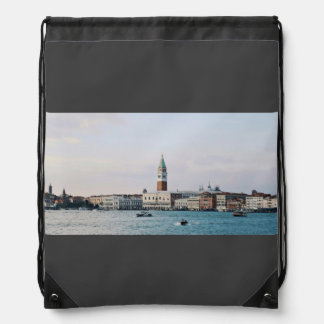 Riverfront Themed, Boats On Blue Water In Front Of Drawstring Bag