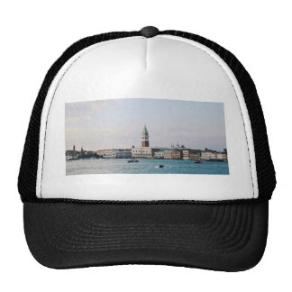 Riverfront Themed, Boats On Blue Water In Front Of Trucker Hat