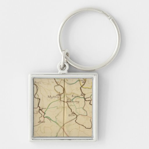 Rivers and Valleys of Germany Silver-Colored Square Keychain