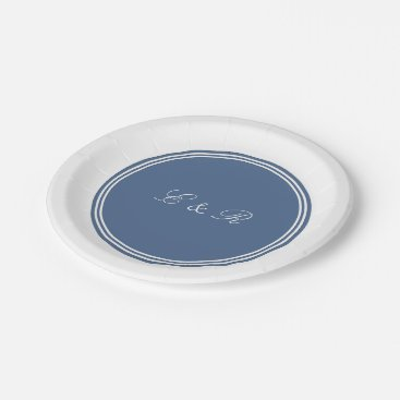 Beach Themed Riverside Blue with White Wedding Detail Paper Plate