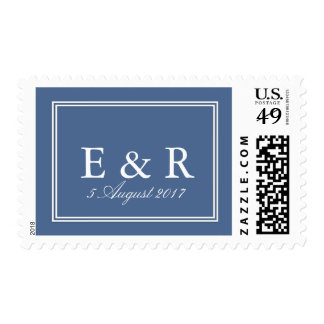 Riverside Blue with White Wedding Detail Postage