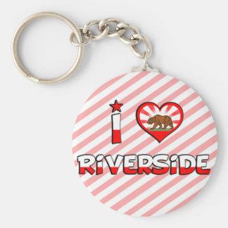 Riverside, CA Basic Round Button Keychain