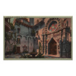 Riverside, CA - View of Mission Inn Courtyard Print