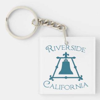 Riverside, California Fleur Design Double-Sided Square Acrylic Keychain