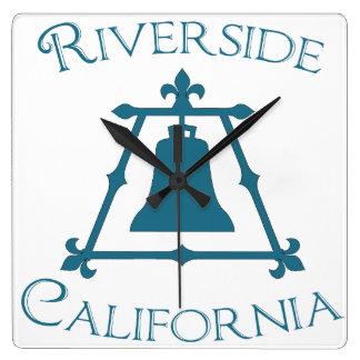 Riverside, California Raincross Fleur Design Square Wall Clock