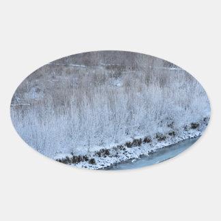 Riverside Frozen Oval Sticker