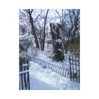 Riverside Park NYC Snow Winter Tree New York Photo Canvas Print