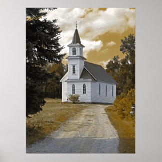 Riverside Presbyterian Church 1800s sepia Poster