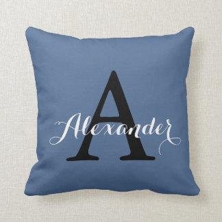 Riverside Rich Blue Solid Color Monogram Baby Boy Pillow