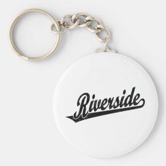 Riverside script logo in black distressed basic round button keychain
