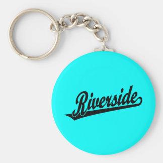 Riverside script logo in black basic round button keychain