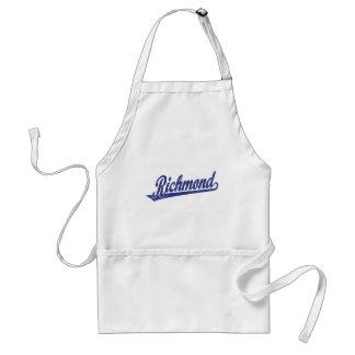 Riverside script logo in blue distressed adult apron