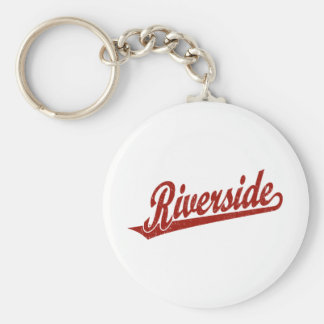 Riverside script logo in red distressed basic round button keychain