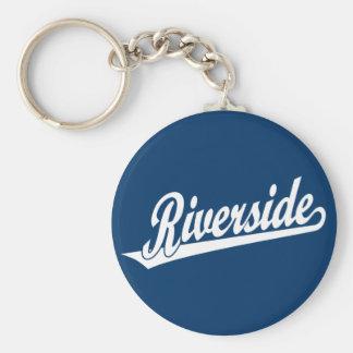 Riverside script logo in white basic round button keychain
