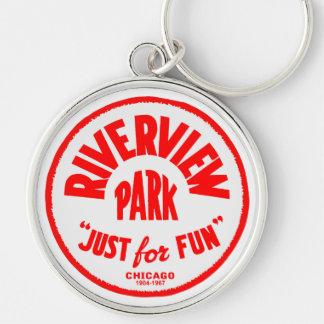 Riverview Amusement Park, Chicago, Illinois Silver-Colored Round Keychain