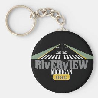 Riverview MI - Airport Runway Basic Round Button Keychain
