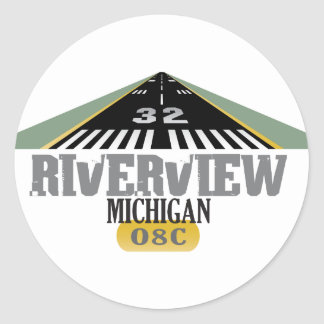 Riverview MI - Airport Runway Classic Round Sticker
