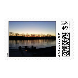 riverwalk in winter postage