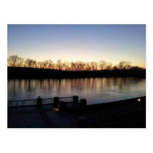 riverwalk in winter postcard