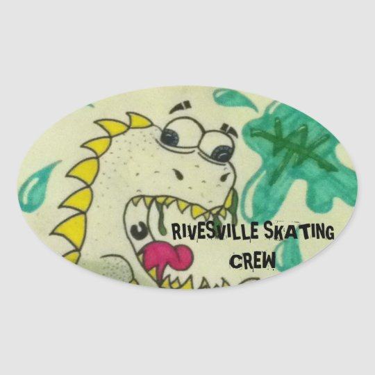 Rivesvills Skating Crew Oval Sticker