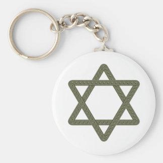 Rivet Star of David for Jewish Celebrations Basic Round Button Keychain